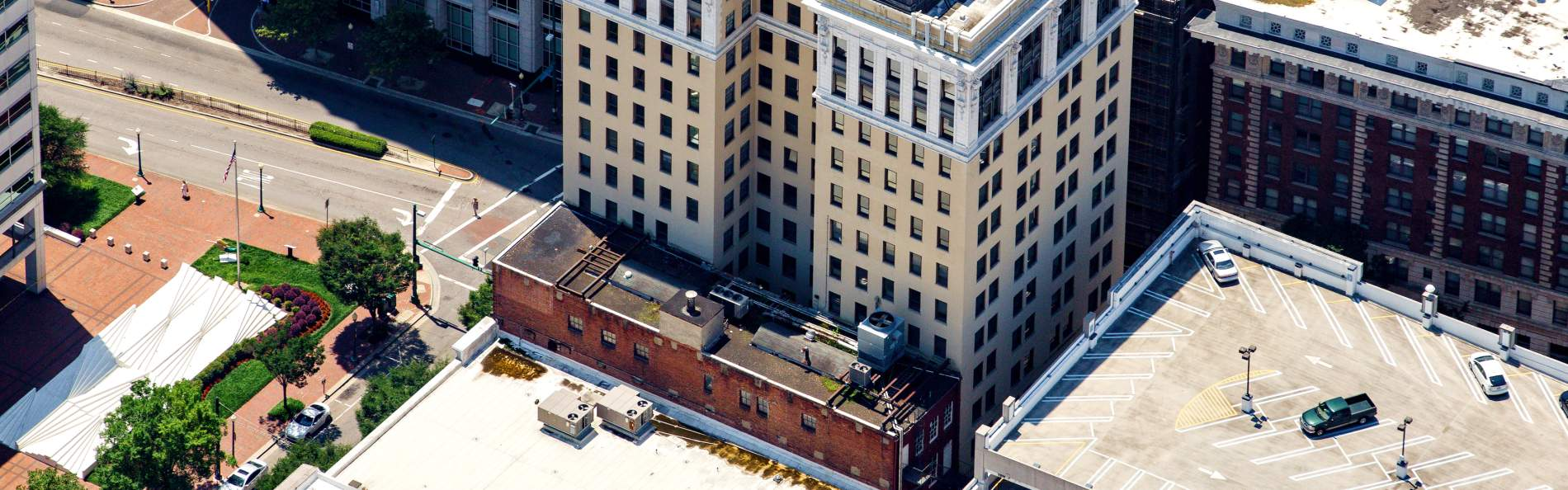 Aerial view of royster building renovated into hotel