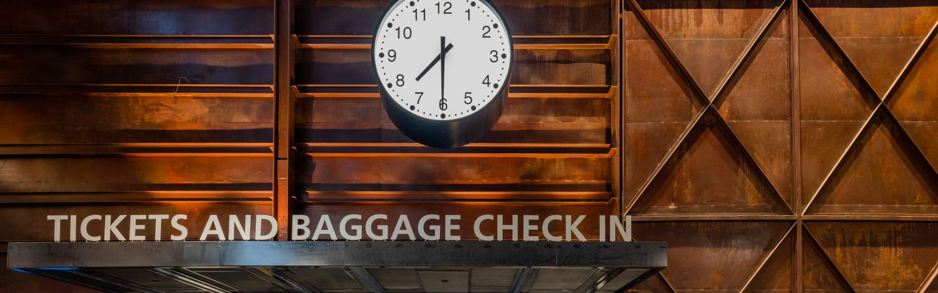 Sign for baggage and ticket check-in at the new Raleigh Union Station.
