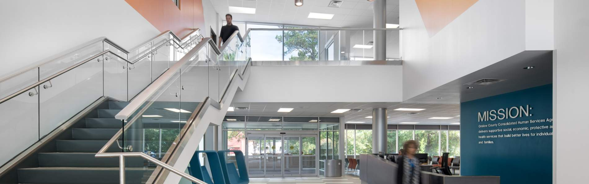 Three-story, 89,000 sq ft building with mechanical penthouse that combines Onslow County's Health Department and Department of Social Services programs into one complex.