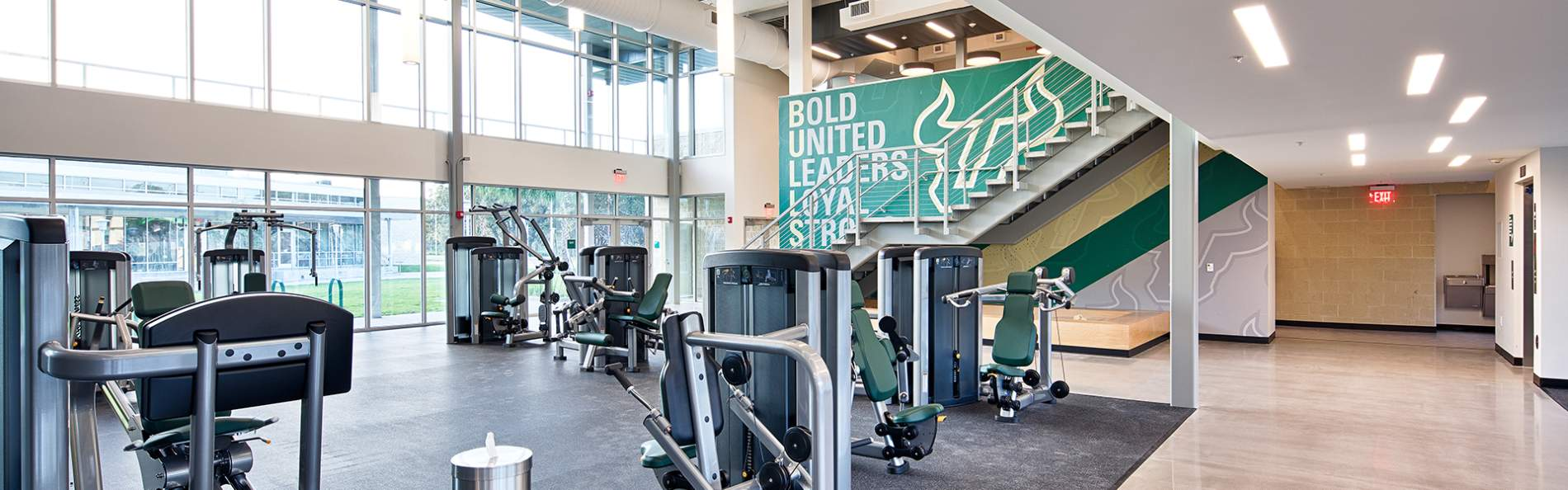 Indoor gym equipment at the new USF Wellness Facility